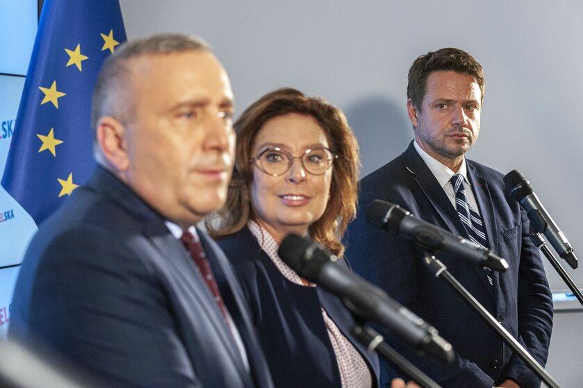 Grzegorz Schetyna, Małgorzata Kidawa-Błońska i Rafał Trzaskowski
