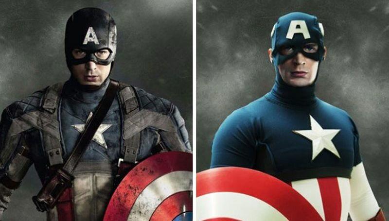 Kapitan Ameryka (po lewej w filmie, po prawej zgodnie z komiksem)