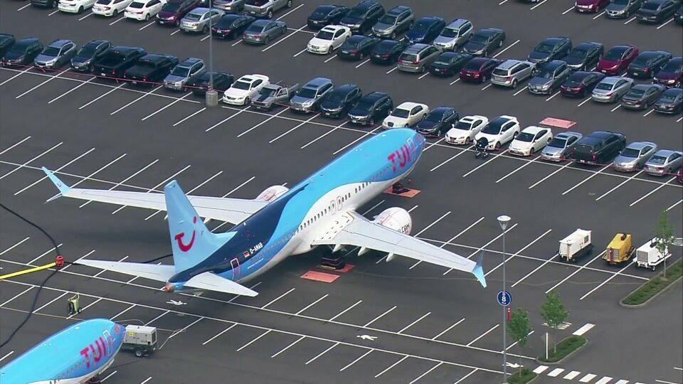 Samoloty Boeing 737 MAX na parkingu przy fabryce