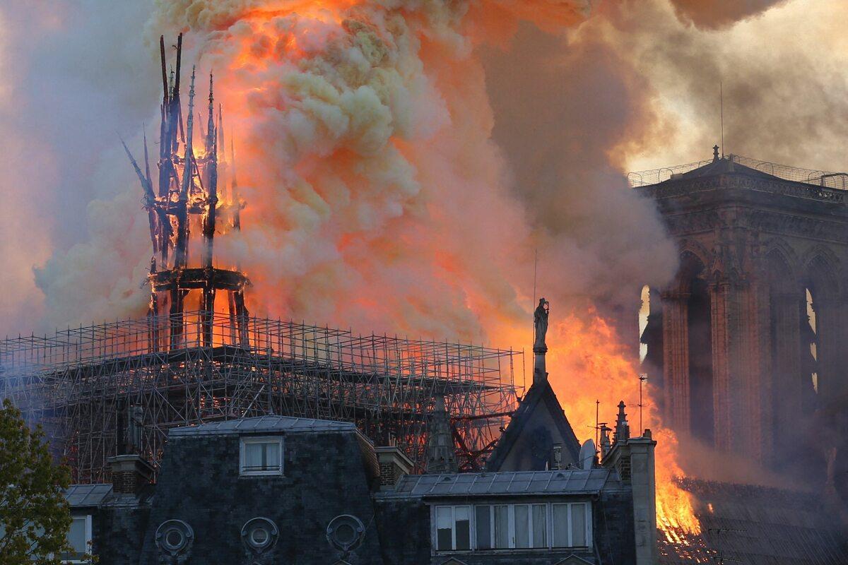 Pożar katedry Notre Dame wobiektywie fotografów