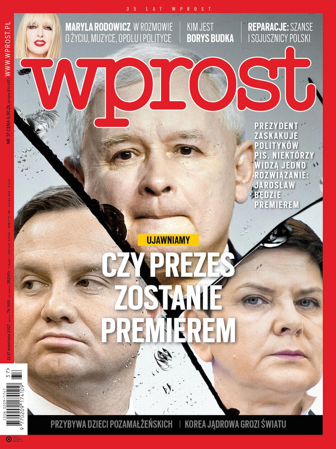 Okładka tygodnika Wprost nr 37/2017 (1802)