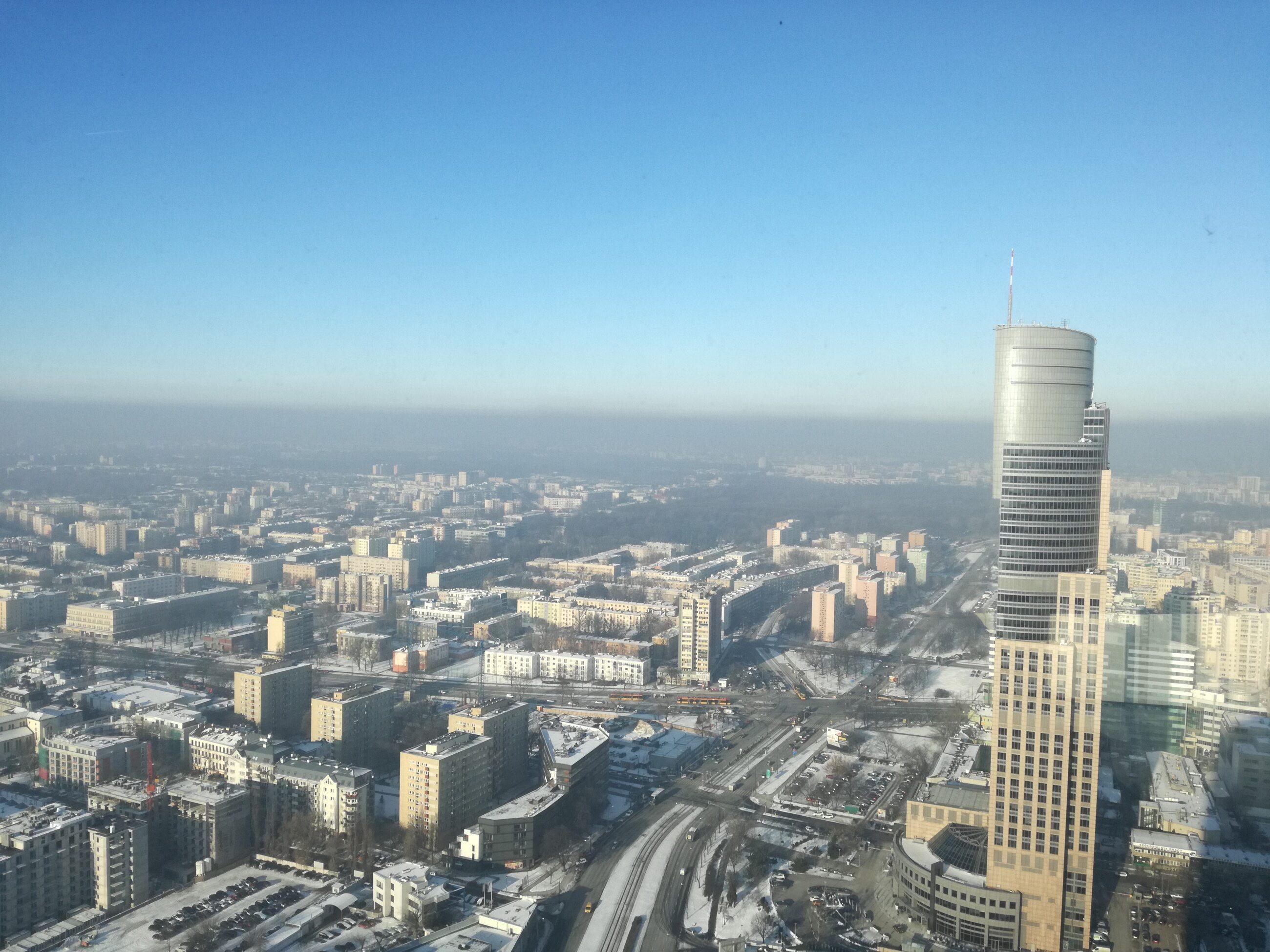 Widok z Warsaw Spire 9 stycznia 2017 roku