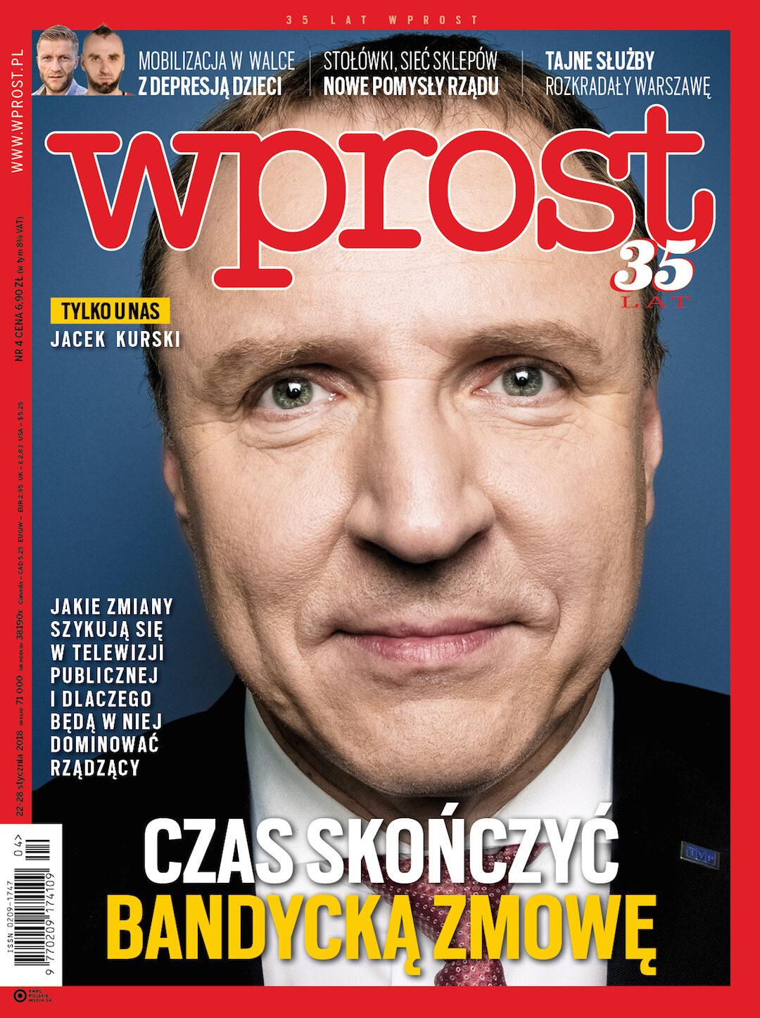 Okładka tygodnika Wprost nr 4/2018 (1820)